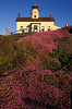 Summer flowers adorn the hillside below Battery Point Lighthouse in Crescent City.<br /> Photo © Carl Clark