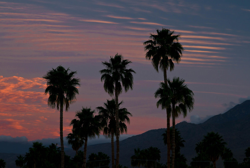 Sunset in Palm Springs - a view from our motel at the Royal Sun.  We were so enchanted with the soft evening air.<br /> Photo © Cindy Clark