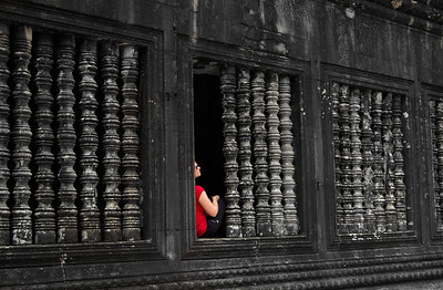 Woman in red, Angkor Wat