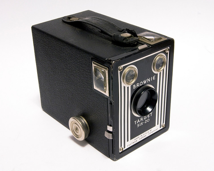 Kodak Brownie Target six-20 (1946-1952). I ran a roll of film through this camera (Jan 11/2009) and it appears I have to think a bit about the composition when shooting in landscape format - I tend to cut the bottom of the subject off. I will have to be a little more careful the next time.<br /> <br /> I had to replace the mirrors, and the hand isn't in the best of condition but other than that this camera is in great shape - and yes it does still work. I have to either buy 620 film (expensive) or re-roll 120 mm film (in total darkness which is a pain)- this is what I did, I re-rolled some 120mm film.