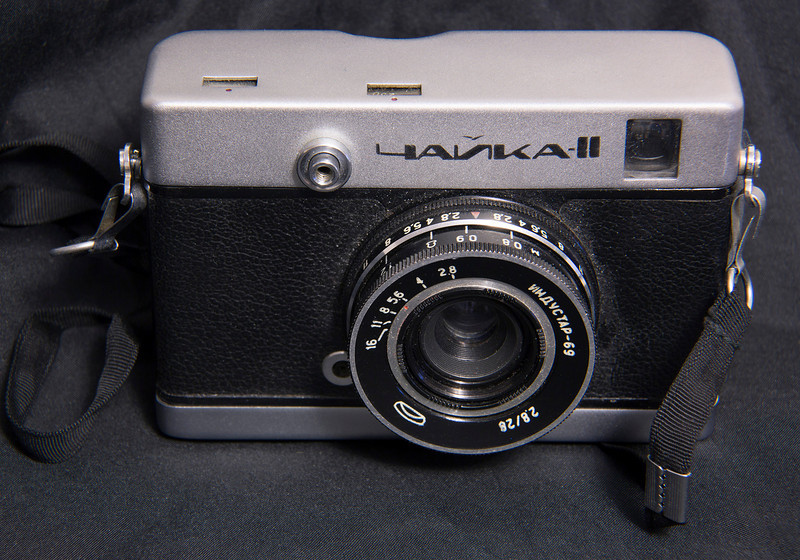 68 of 35 (Chaika II)<br /> <br /> I used this camera once, the film transport was not proper so the frames started to overlap half way through the roll.<br /> <br /> Chaika II is a half-frame 35mm film viewfinder camera made by MMZ, after 1971 made by Belomo and produced between 1967-72. Chaika (Чайка) means Seagull.
