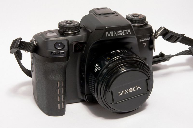 Minolta Maxxum 7 witha Minolta 50mm 1.4 lens. I purchased this film camera in 2002 but the lens was purchased in the mid 1990's.