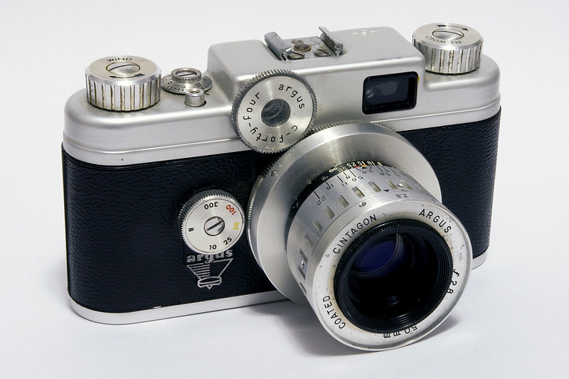 A Argus C-44 made in 1956 with a Argus 50mm 2.8 lens. I found it hard to always get a 100% sharp photo with this camera.