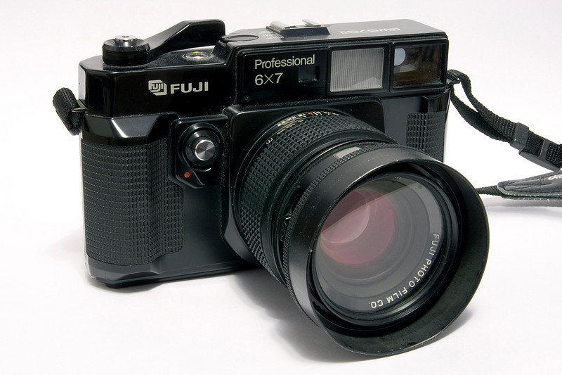 This Fuji GW670II Profession 6x7 camera is another medium format camera that I have and use. As the name indicates, the negatives you get from this are not square like my Rolliecord TLR or my Hasselblad 500CM - but 6x7 centimeters. I find composing with this MF camera easier due to the negative dimensions. This camera was introduced in 1985, but I have no idea when this one was made.