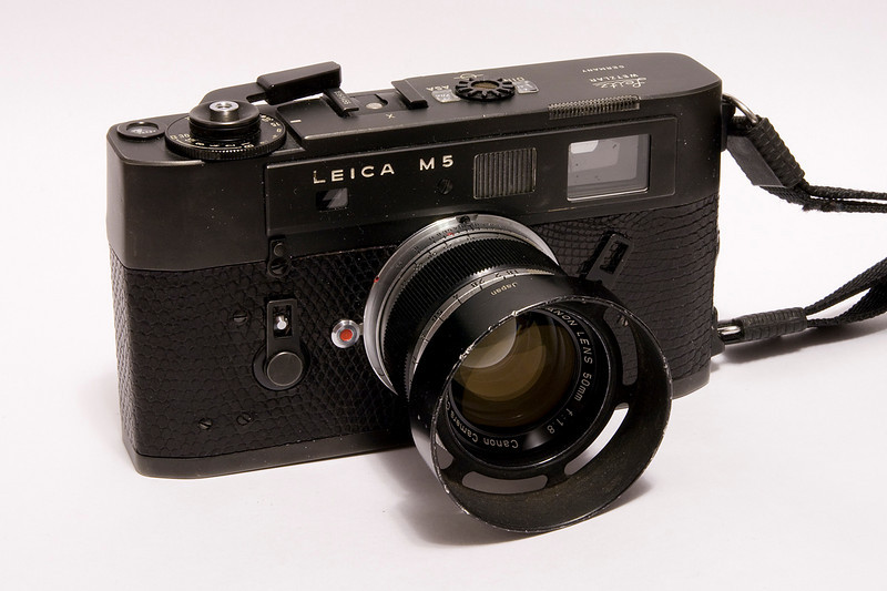 Leica M5 with a Canon 1.8 lens. This particular M5 was made in 1972.