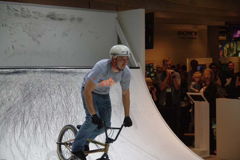 """Half pipe biker"" © Falk Lumo 2010 -- Half pipe biker at the Photokina 2010 Sony booth, captured by a Pentax K-7 in AF.C mode, DA*16-50/2.8 SDM lens at 50mm."