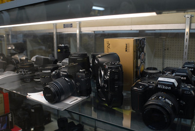 The display case of used Nikons at Bromfield Camera