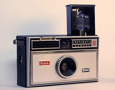"""One of the first cameras I had an admiration for, the Kodak Instamatic 100.   Found on a Wikipedia search for Kodak Instamatic at  http://en.wikipedia.org/wiki/Image:Kodak_Instamatic_100.jpg  Original photo credited to user """"CameraFiend"""" on Wikipedia."""