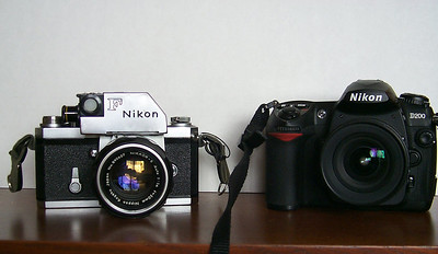 Cutting edge in 1962: Nikon F Photomic, alongside a cutting-edge camera from 2006: Nikon D200.  Both are a pleasure to shoot with.