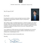 Letter From Prime Minister of Canada for Stephen Woo