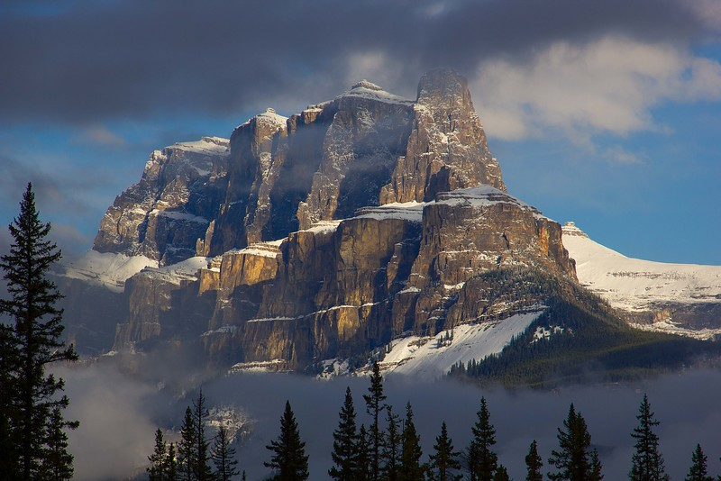 Castle Mt after an early autumn snowfall. Canadian Rockies.<br /> Photo © Carl Clark