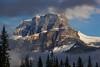 Castle Mt after an early autumn snowfall. Canadian Rockies.<br /> Photo © Carl Clark