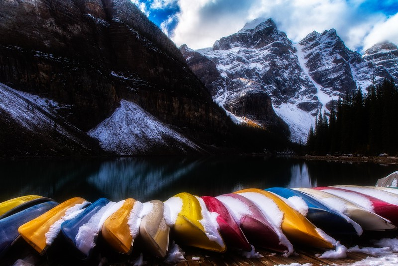 Just our luck - an early snowfall at Moraine Lake in mid-September.<br /> Photo © Cindy Clark