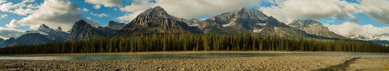 An array of peaks over the Athabasca River in the Canadian Rockies.<br /> Photo © Carl Clark