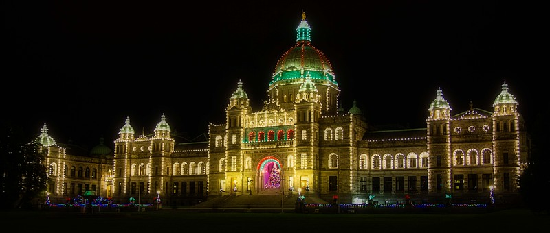 The Parliament Buildings in Victoria decked out in Christmas décor.<br /> Photo © Carl Clark