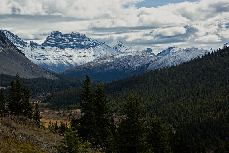 Cirrus Mt shows the first signs of winter in the Canadian Rockies.<br /> Photo © Carl Clark