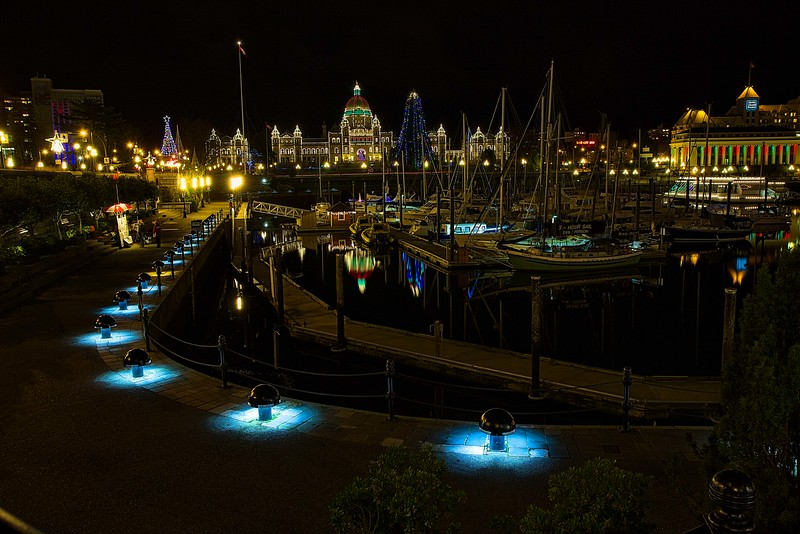 Holiday lights on Victoria Harbour, BC.<br /> Photo © Carl Clark