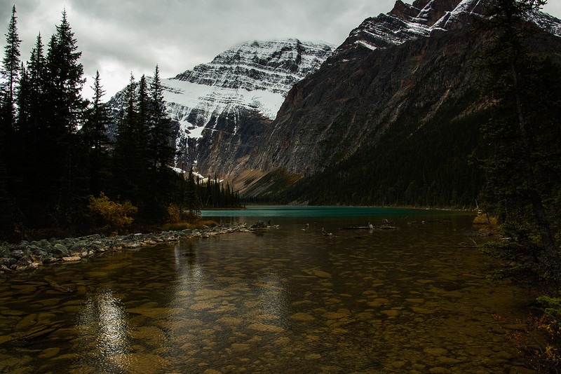 New snow on the north face of Mt Edith Cavell in the Canadian Rockies.<br /> Photo © Carl Clark