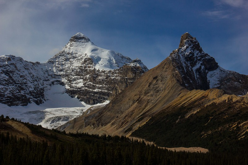Snowy Mt Athabasca emerges into the clearing sky. Canadian Rockies.<br /> Photo © Carl Clark