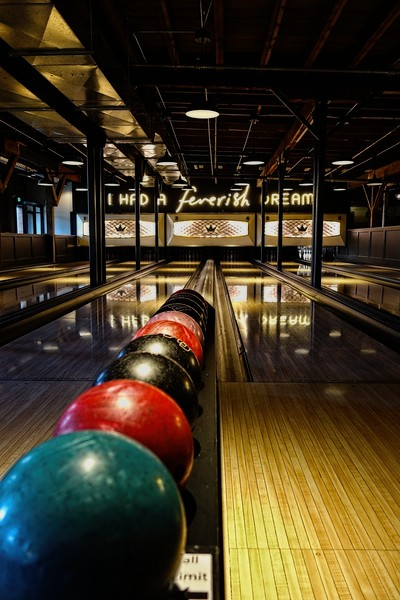 The bowling alley on the 2nd floor of BNA Brewery in Kelowna, BC.<br /> Photo © Cindy Clark
