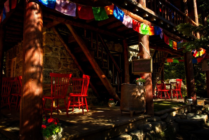 The Teahouse is the goal of the 6 Glaciers hike at Lake Louise, Banff.<br /> Photo © Cindy Clark