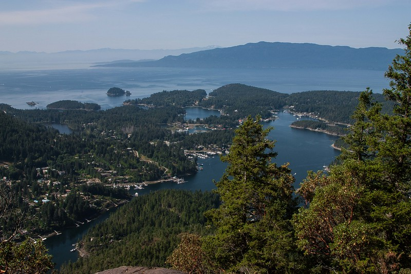 Overlooking Pender Harbour and Francis Peninsula from the summit of Mt Daniel on the Sunshine Coast, BC.<br /> Photo © Carl Clark