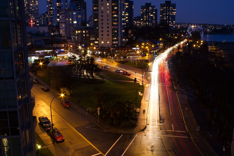 Evening traffic on Beach Avenue in Vancouver.<br /> Photo © Carl Clark