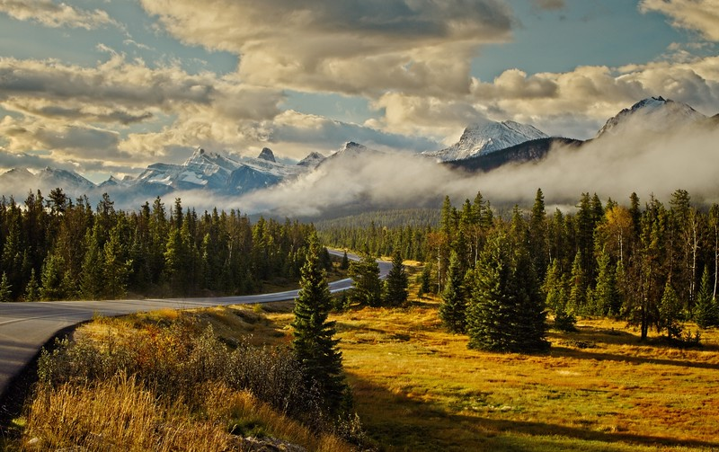 Road trip anyone?  This was taken in the Canadian Rockies in mid-September.<br /> Photo © Cindy Clark