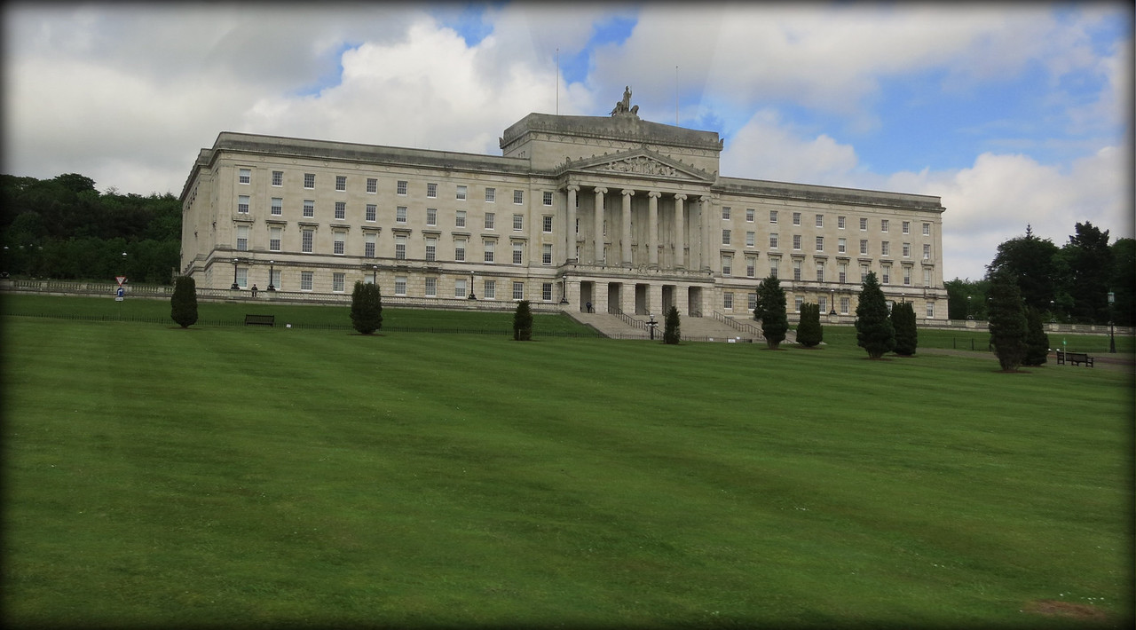 Belfast Parliament building. Beautiful linden trees lining the entrance driveway.