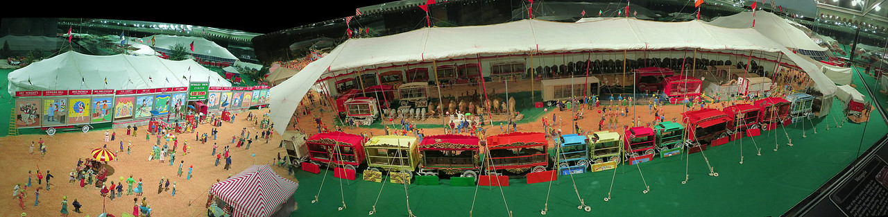 Best viewed in XL, XL2 or XL3 large sizes. Panorama of the miniature circus displays