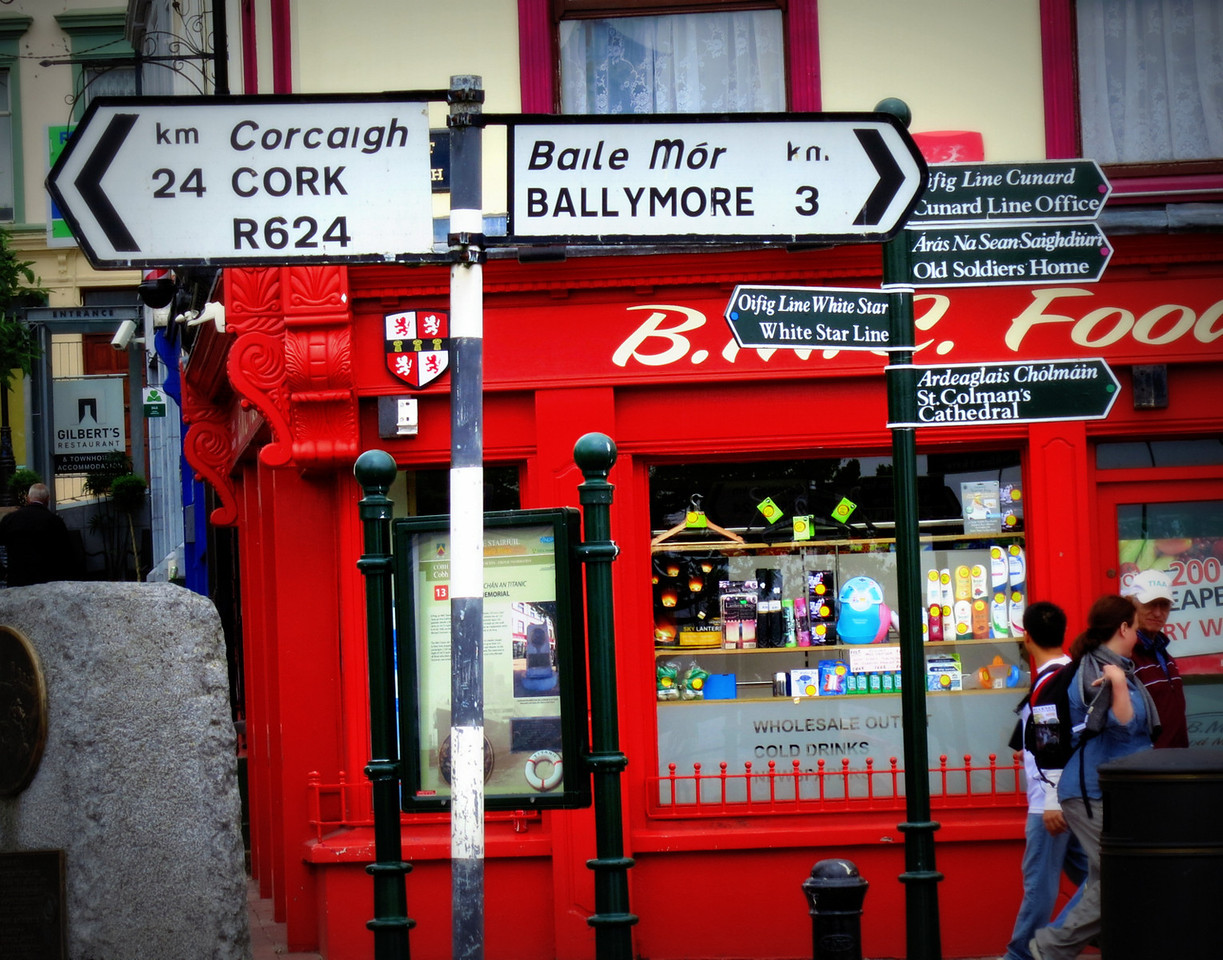 Street corner; distance signs