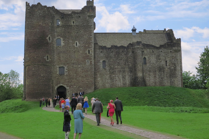 "Doune castle in Greenock. A wedding was about to take place as we arrived. This was the castle used in filming ""Monty Python and the Holy Grail."""