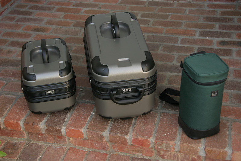 Cases for the Canon 400mm D4.0 DO, Canon 400mm F2.8 L and Sigma 120-300mm F2.8 lenses used in this test