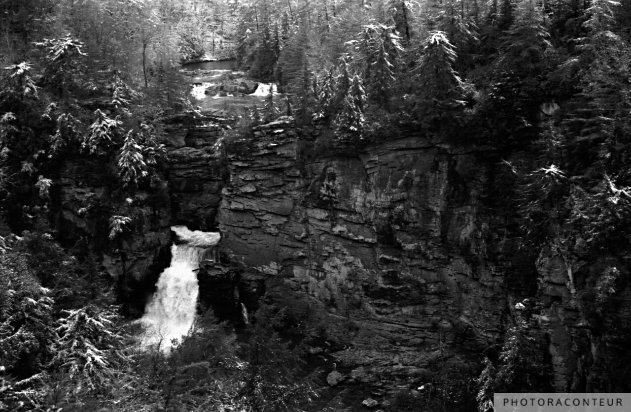 """Linville Falls No. 2, North Carolina"" ~ B&W horizontal composition of Linville Falls in the North Carolina mountains after a light snow fall."