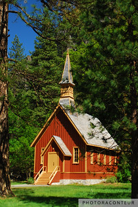 """Yosemite Chapel"" ~ View of the historic chapel within Yosemite National Park.   Construction of the chapel was completed in 1879, but it has been moved about a mile from its original location."