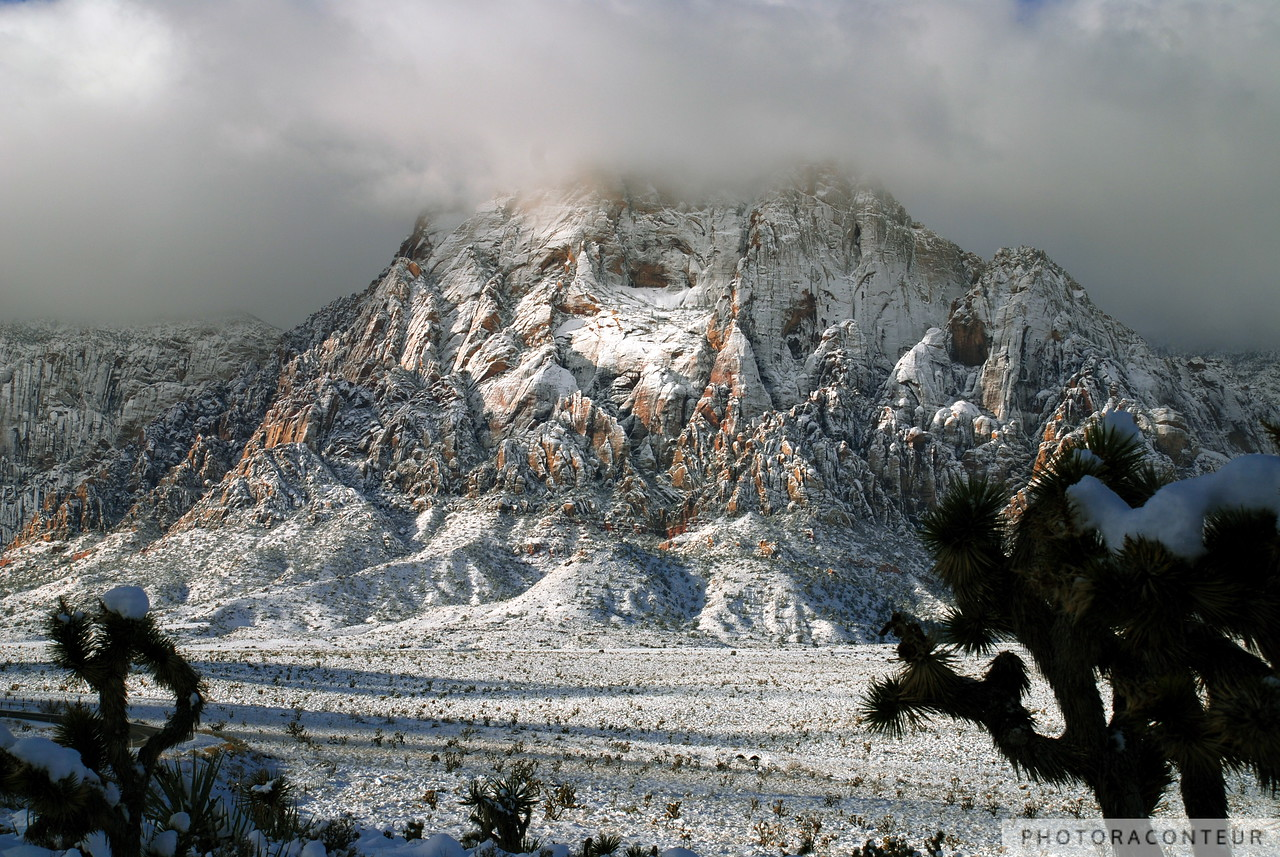 """Mount Wilson Snow"" ~ Clouds float above fresh snow at Mount Wilson, located in Red Rock Canyon, Nevada."