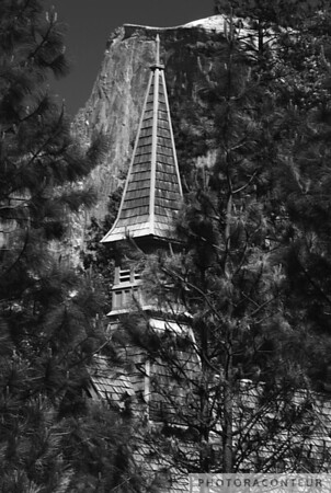 """Yosemite Chapel & Half Dome"" ~ View of the historic chapel within Yosemite National Park, framed by the glacially formed Half Dome. I feel this image really shows how well architecture can be meshed in with the surrounding landscape, à la Frank Lloyd Wright."