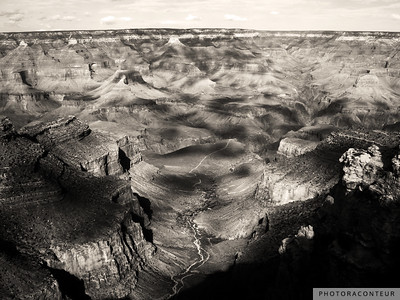 """Grand Canyon Vista No. 10"" ~ View of the Grand Canyon from the South Rim Trail, processed in the digital darkroom to simulate sepia toning."