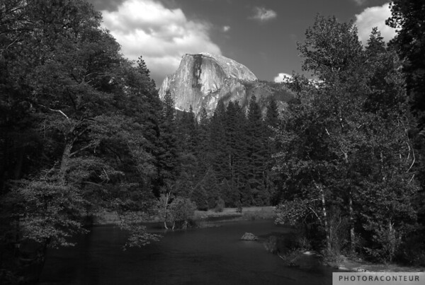 """Half Dome from Sentinel Bridge"" ~ View within Yosemite National Park of the iconic Half Dome, from the Sentinel Bridge over the Merced River."