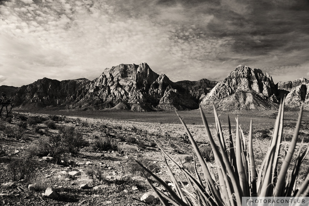 """Red Rock in Sepia"" ~ View of clouds over Red Rock Canyon near Las Vegas, Nevada."