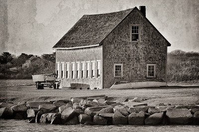 Textured Barn in Late Day Sun, Stage Harbor in Chatham (2012) [Michael A. Karchmer]