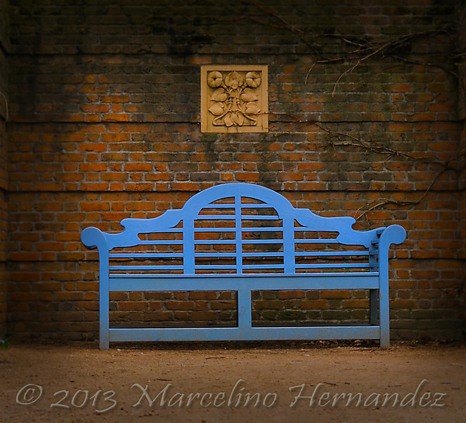 """I just love the brickwork. Aged and weathered. The color of the bench is what caught my eye at first. It just begs you to """"come and rest a while"""". You'll see this one in more images to come!"""