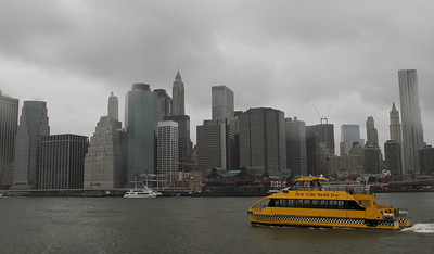 Rainy Day New York Water Taxi - the next day we look back on the Big Apple from the Brooklyn side.