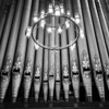 Organ pipes and chandelier.