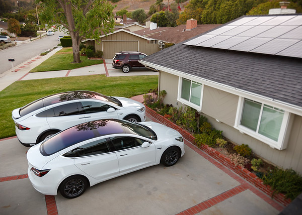 Hers and his Teslas from the roof