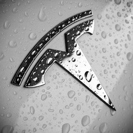 Wet Tesla logo #WetWednesday #WW #Tesla #Model3 #Commute #BlackAndWhite