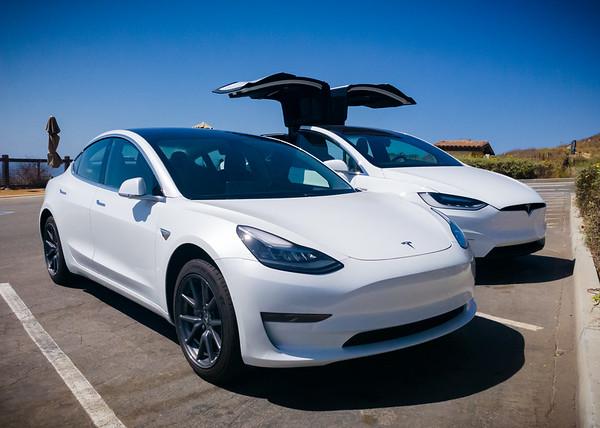 (Though Valerie has the better pearl white) #Tesla #Model3 #ModelX #HersAndHis #NationalDriveElectricWeek