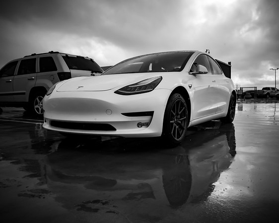 I've made it to the office on a very gray day #WetWednesday #WW #Tesla #Model3 #Commute #BlackAndWhite