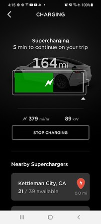 When she first entered Kettleman City as her destination, a message popped up stating that Supercharger is temporarily closed.  After I receive responses from a Tesla forum and a Facebook group, I recommend she tries to stop there anyway (apparently any disruption in cellular service might cause the trip computer to think a station is closed).  At the time, the Tesla app was also showing stall availability...so it seemed a fairly safe bet.  And since California fully re-opened on Tueday, the owners lounge has re-opened as well.