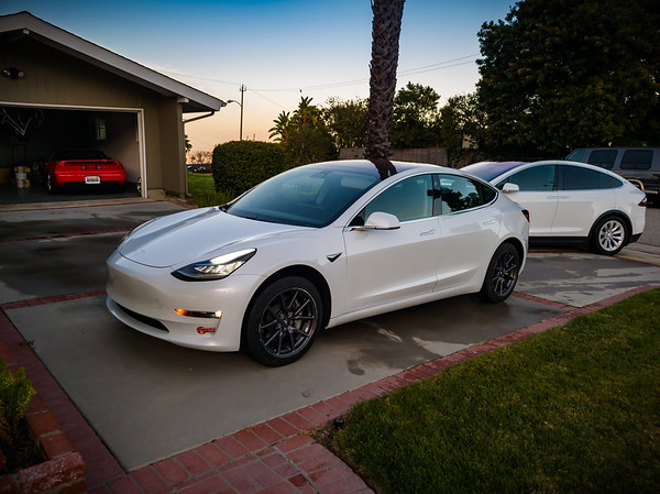 Valerie's Model 3 enjoyed being plugged in within the garage for the past couple of days while my X slept under the stars